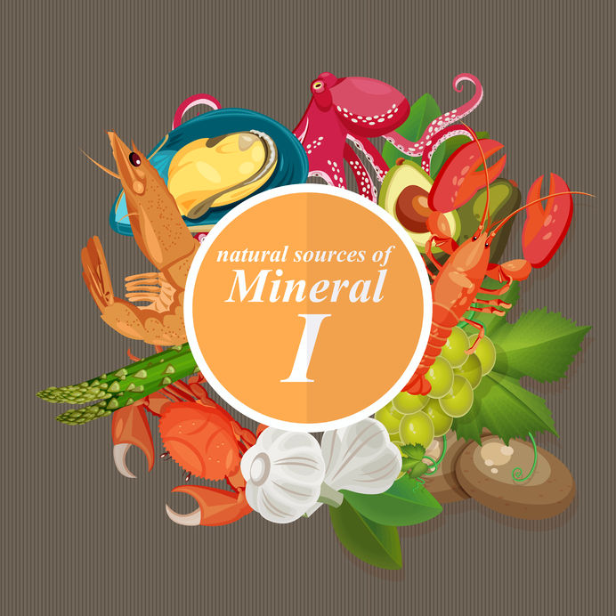 groups of healthy fruit, vegetables, meat, fish and dairy products containing specific vitamins. iodine. minerals.
