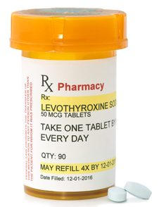 levothyroxine prescription bottle.